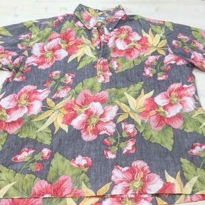 Reyn Spooner half button hawaiian floral shirt